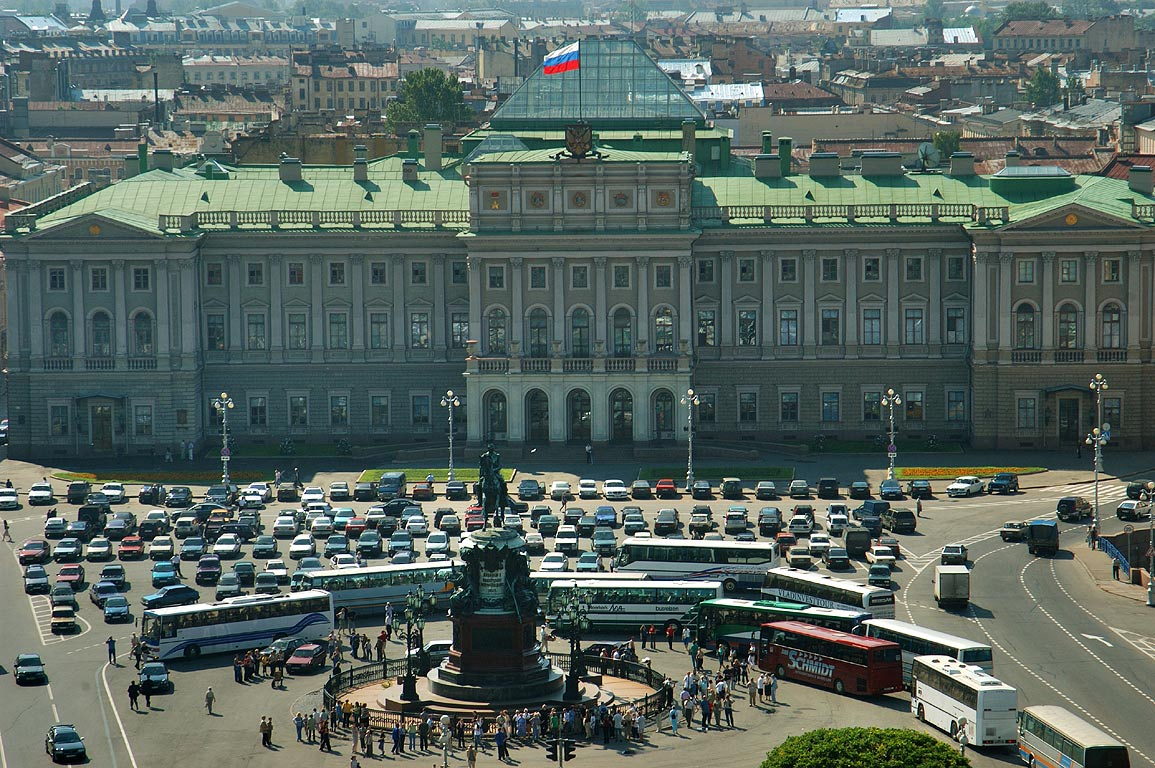 City Hall (Mariinsky Palace) behind Isaakievskaya...Isaac Cathedral. St.Petersburg, Russia