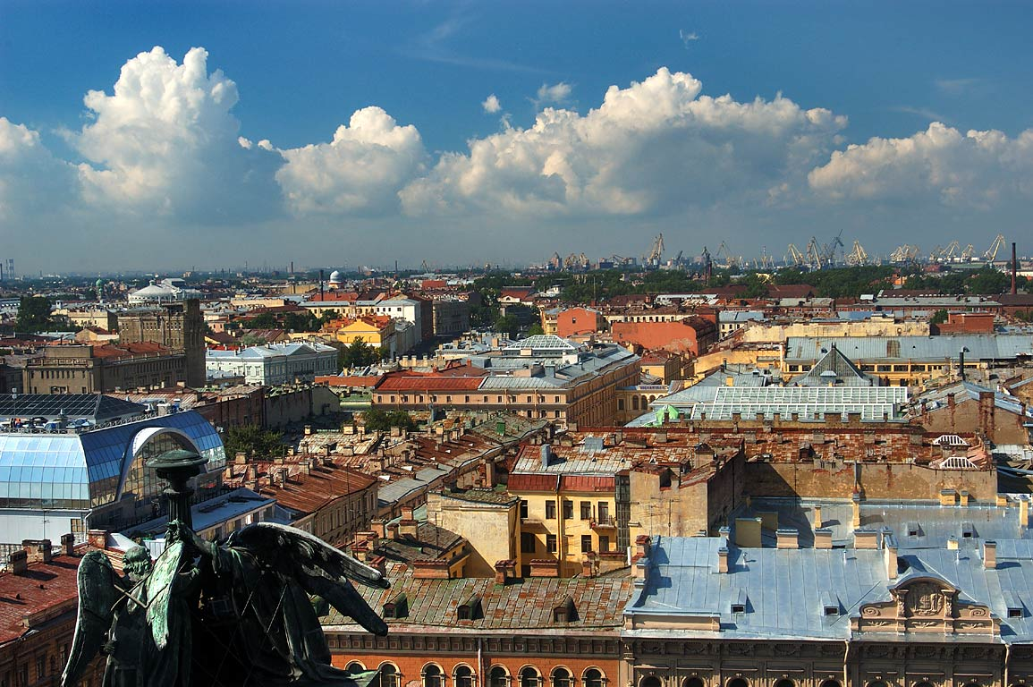 Sea Port (on horizon) from colonnade of St.Isaac Cathedral. St.Petersburg, Russia