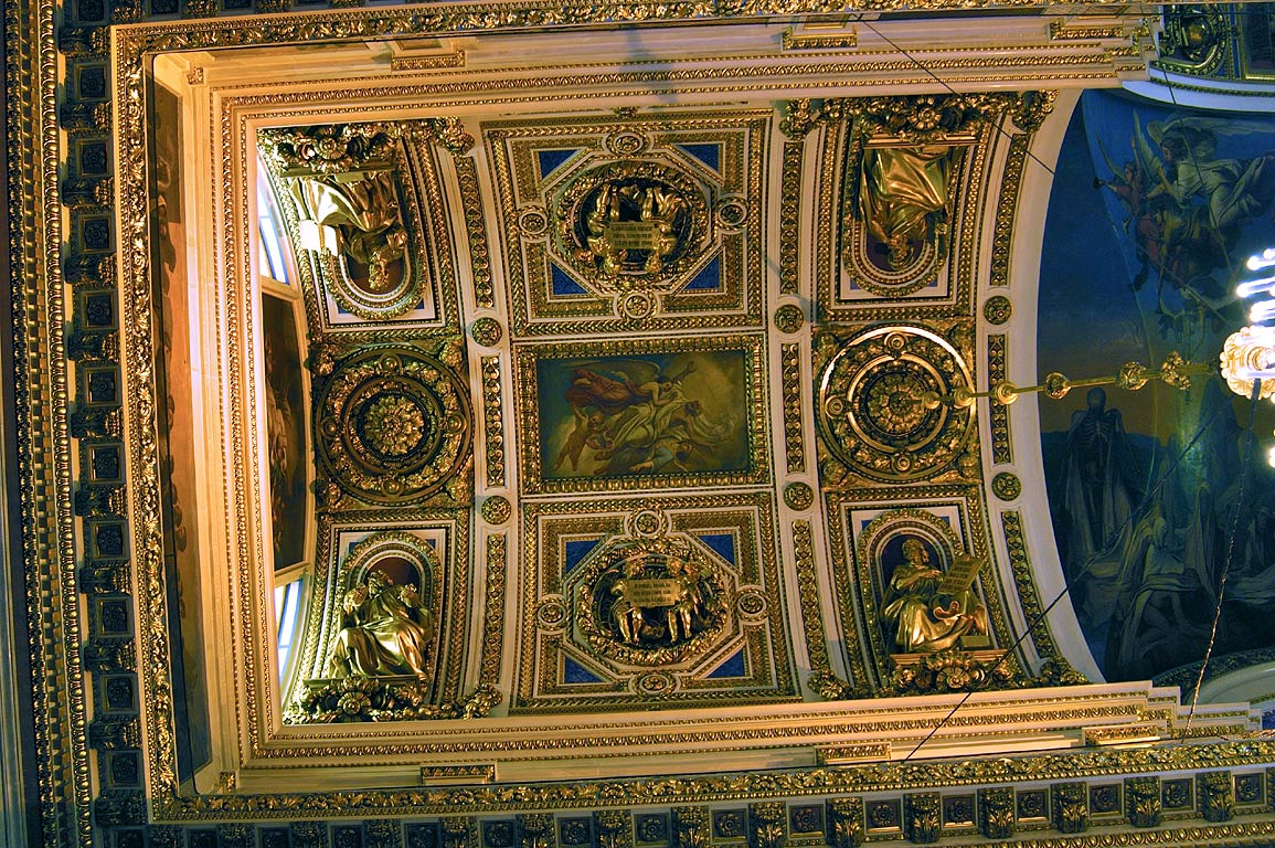 Ceiling of St.Isaac Cathedral. St.Petersburg, Russia