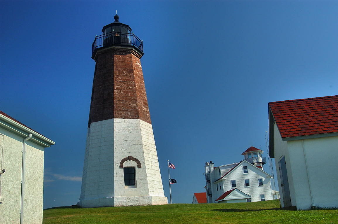 Point Judith Lighthouse and US Coast Guard Station in Narragansett. Rhode Island