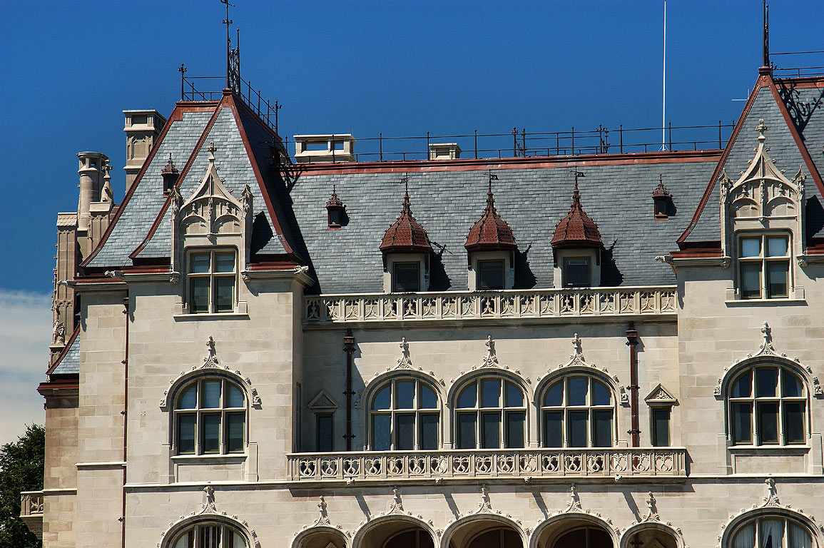 Ochre Court Mansion (zoomed) from Cliff Walk in Newport. Rhode Island