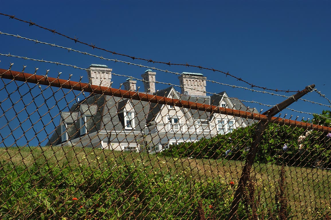 Angelsea Mansion at Ochre Point from Cliff Walk trail in Newport. Rhode Island