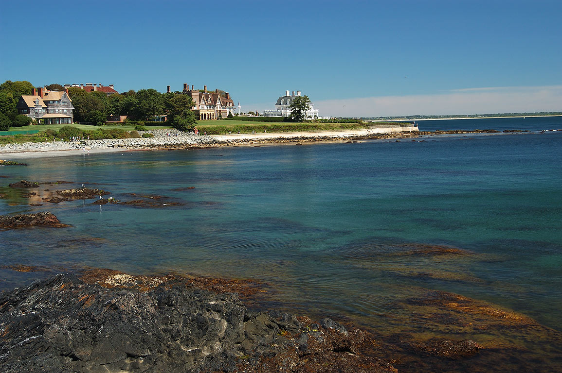 Midcliff, Fairhaven and Angelsea mansions near...Walk trail in Newport. Rhode Island