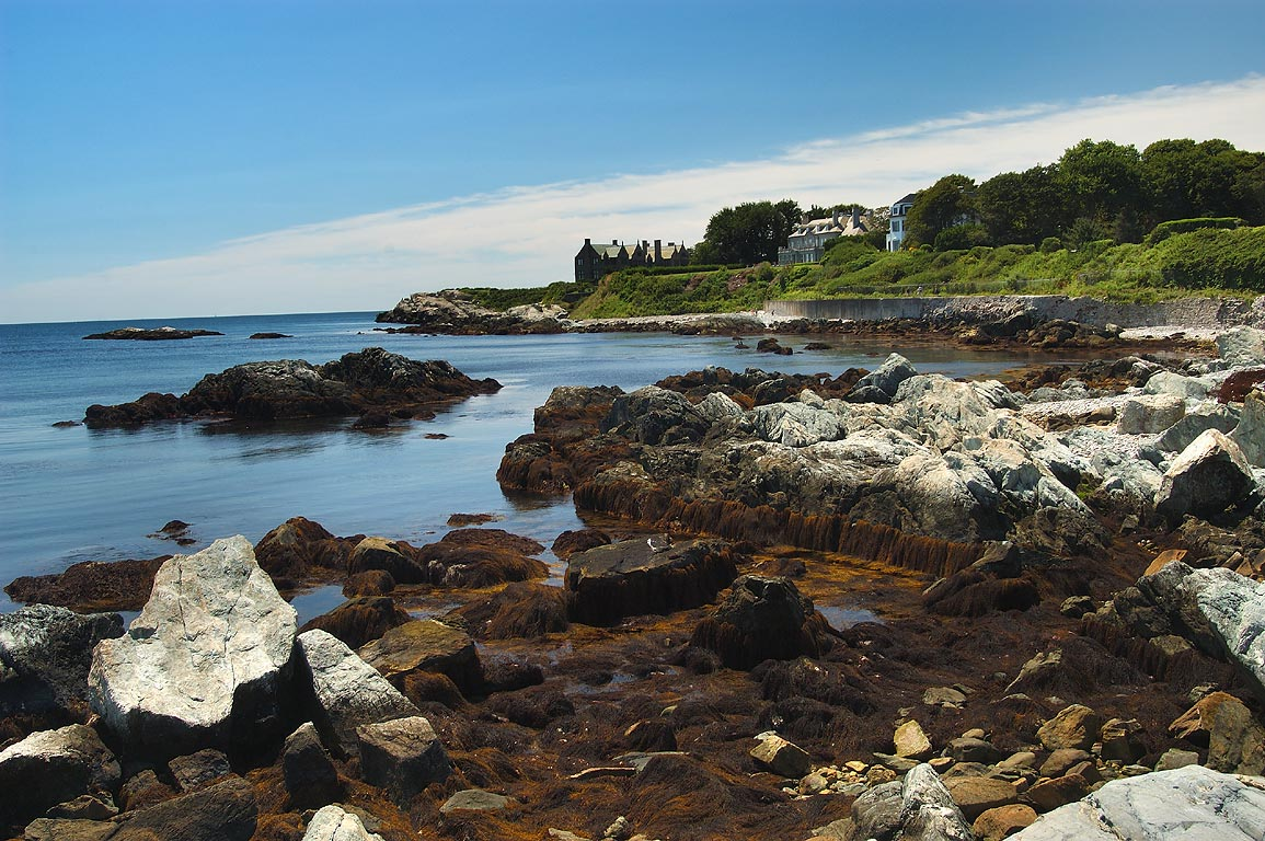 Rough Point, New Lodge and Ocean View mansions...Rock tunnel. Newport, Rhode Island