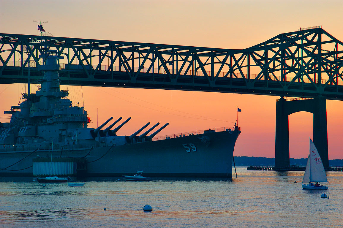 Battleship BB-59 USS Massachusetts, Braga Bridge...River). Fall River, Massachusetts