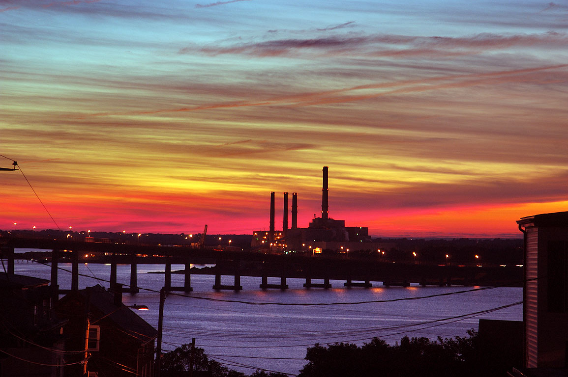 Taunton River, Braga Bridge and Brayton Point...sunset). Fall River, Massachusetts