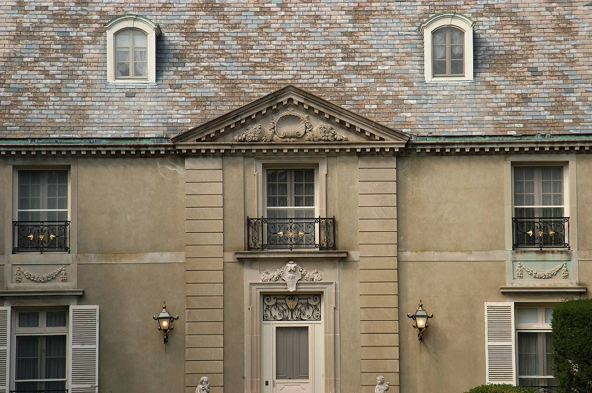 Champ Soleil Mansion, zoomed, on Bellevue Ave. in Newport. Rhode Island