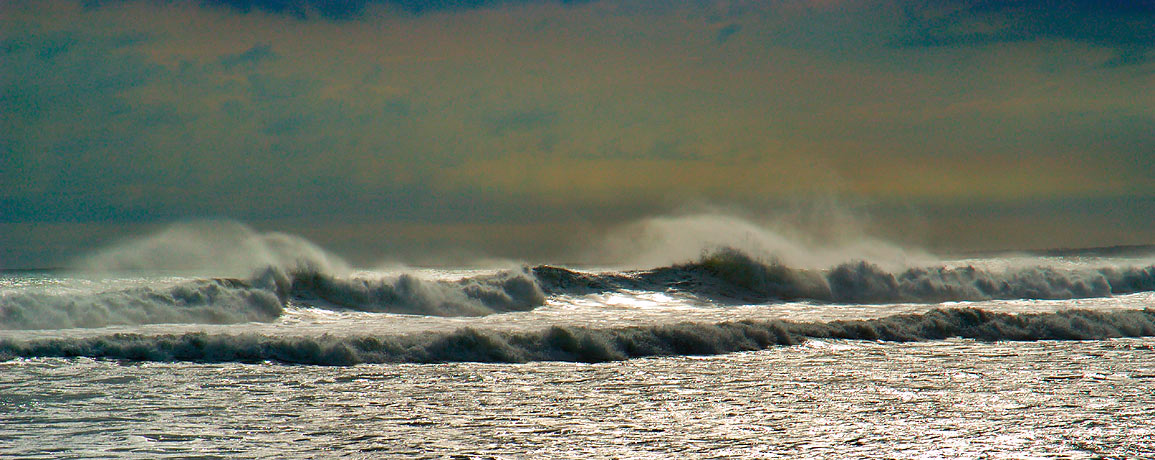 Waves originated from a nearby Isabel hurricane...Beach. Westport, Massachusetts