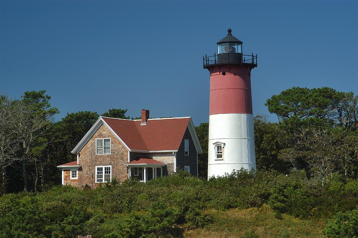Nauset Light in Cape Cod. Eastham, Massachusetts