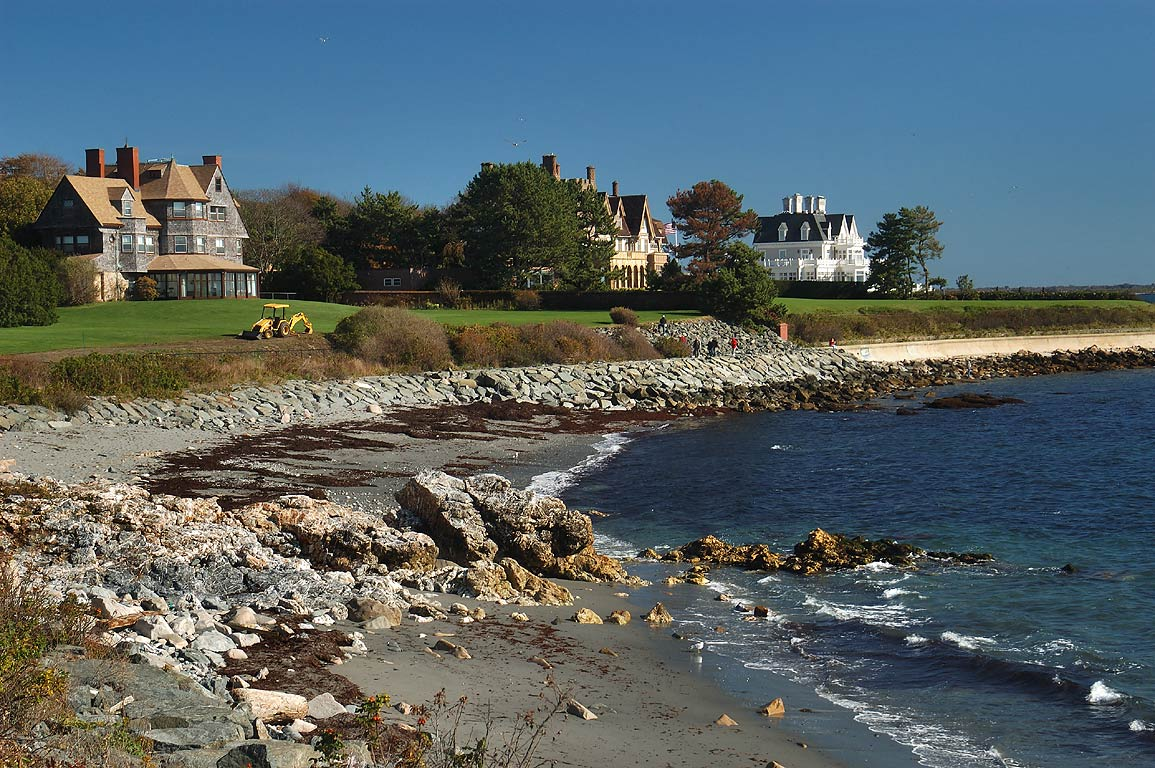 Midcliff, Fairhaven and Angelsea mansions at...Walk trail in Newport. Rhode Island