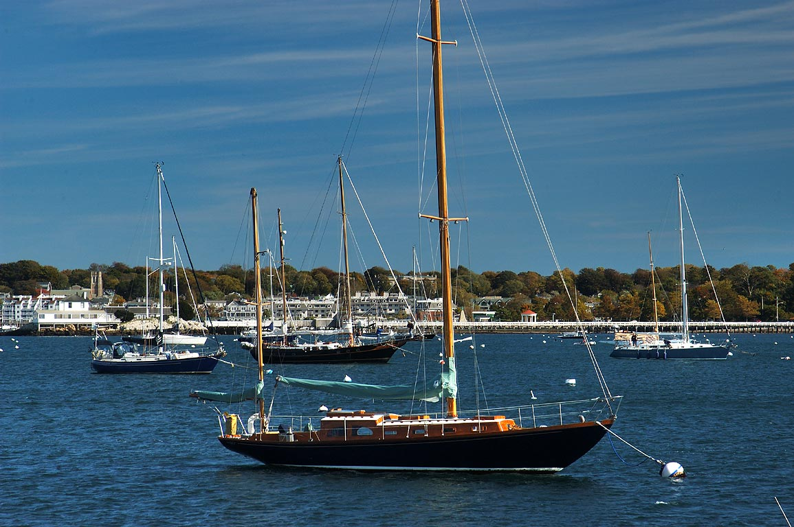 Yachts in Brenton Cove, view from Fort Adams State Park in Newport. Rhode Island