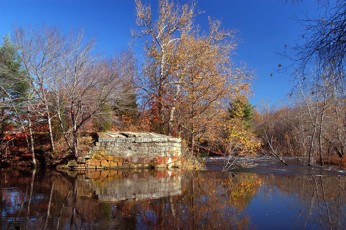 Blackstone River south from Hartford Ave...State Park. Uxbridge, Massachusetts