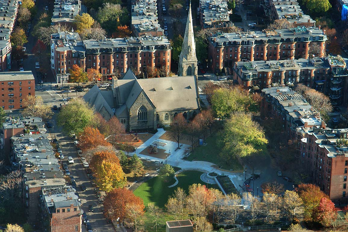South End from Skywalk observatory of Prudential Tower. Boston, Massachusetts