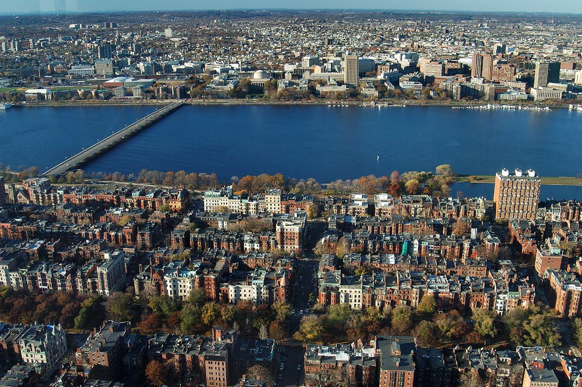 Back Bay, Charles River and Cambridge from...Tower. Boston, Massachusetts