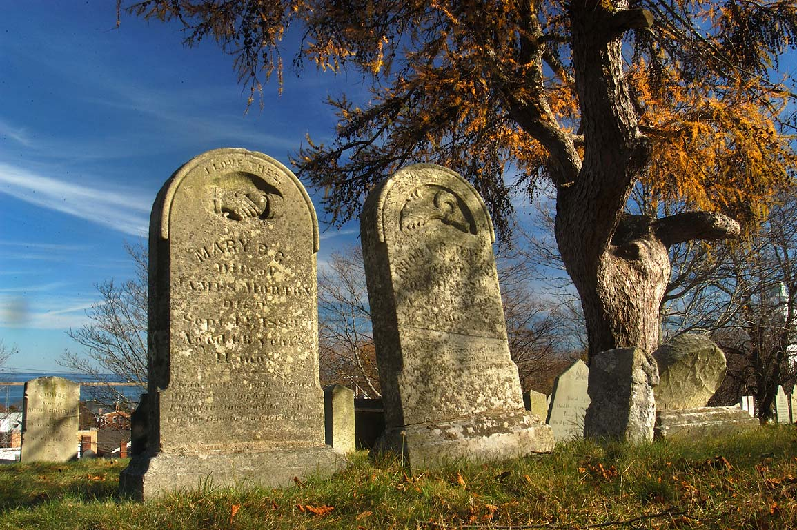 Graves of Mary B. C. (died Sept. 12, 1883) and C...burial hill in Plymouth. Massachusetts