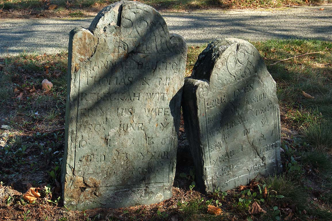 Graves of Thomas and Mt. Rebeckah th, 1736) and...burial hill in Plymouth. Massachusetts