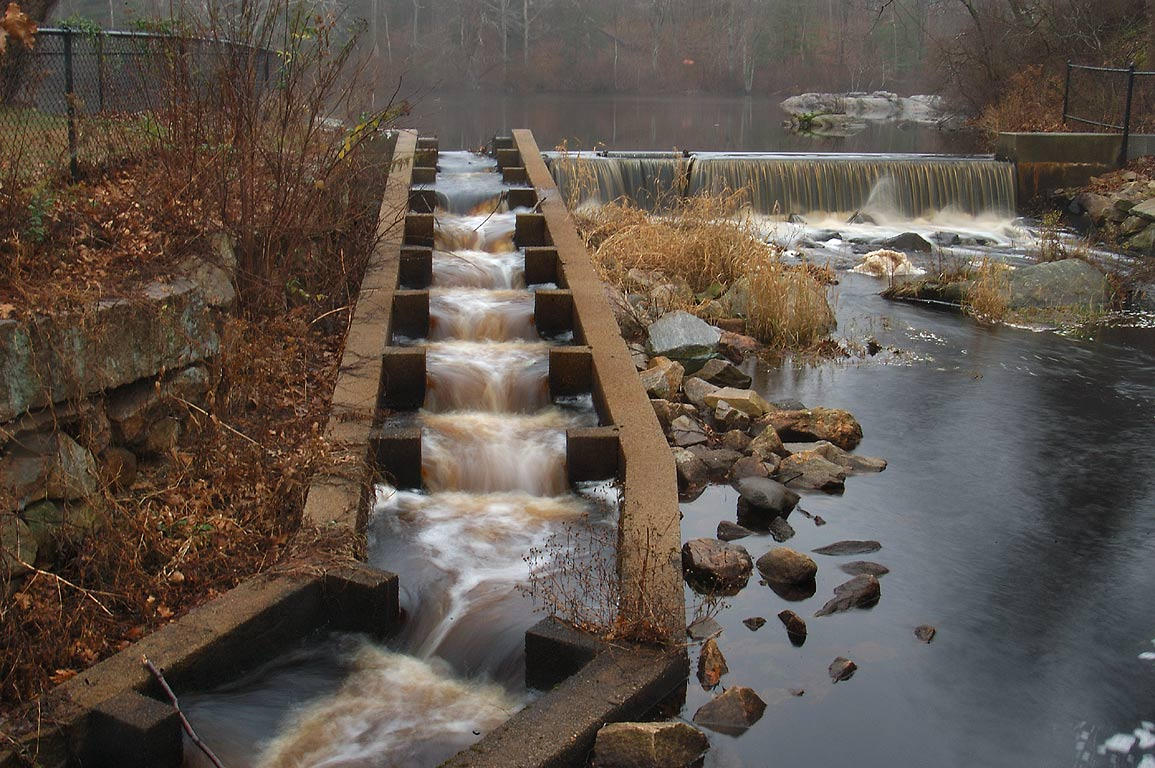 A dam in Russells Mills village, on Paskamansett...O Dundee Rd.. Dartmouth, Massachusetts