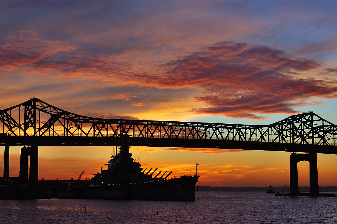 Battleship BB-59 USS Massachusetts and Braga...State Park at 4:26 p.m. Massachusetts