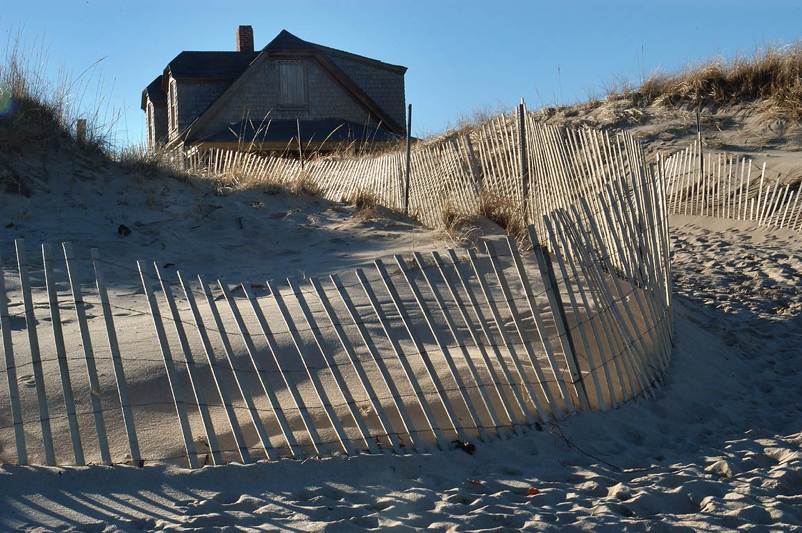 Entrance to Ballston Beach at the end of South Pamet Rd. in Cape Cod. Truro, Massachusetts