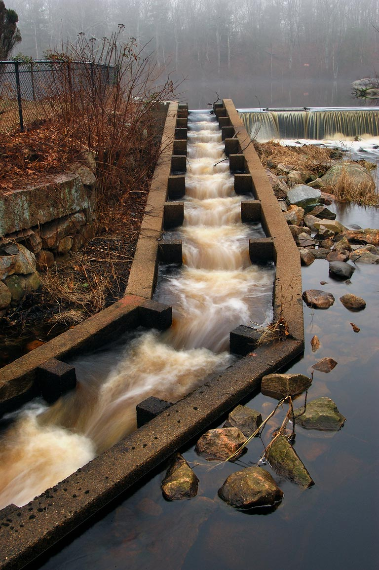 A fish stairs of a dam in Russells Mills village...O'Dundee Rd.. Dartmouth, Massachusetts