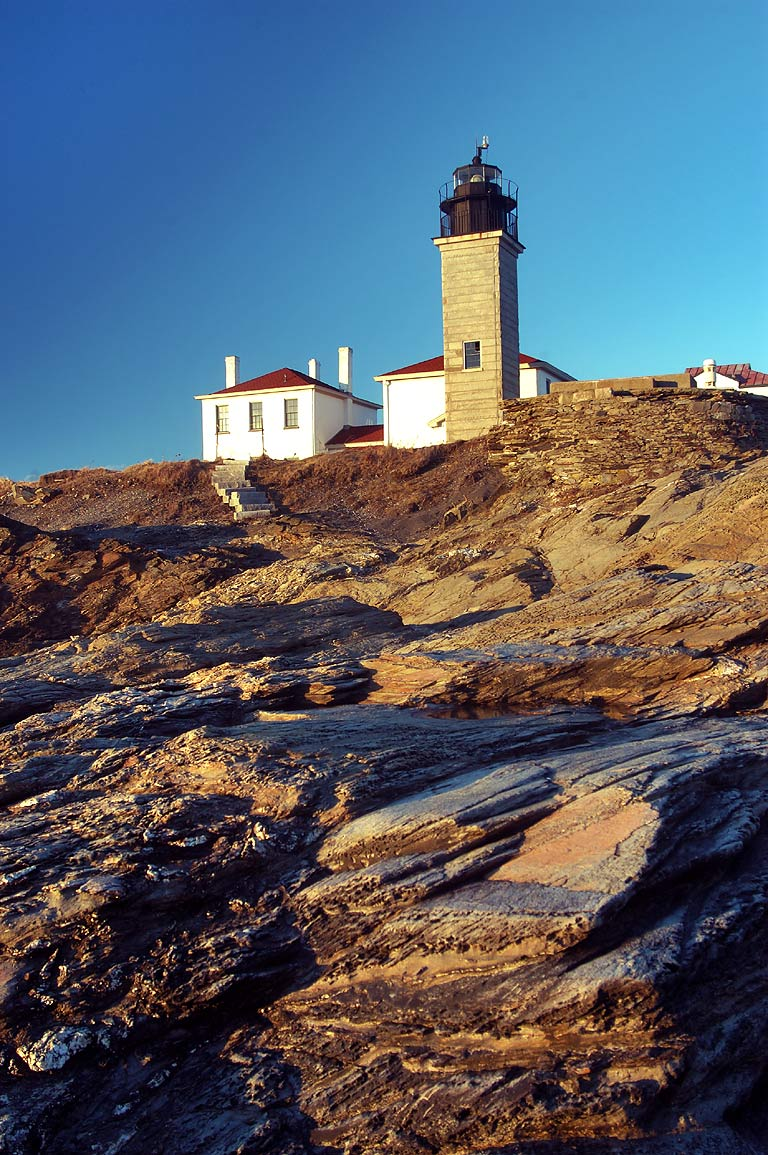 Beavertail Lighthouse in Conanicut Island. Jamestown, Rhode Island