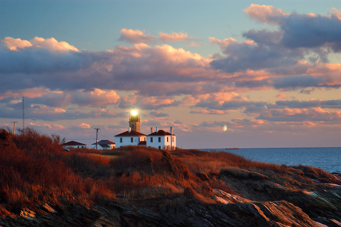 A lighthouse on Beavertail Point in Conanicut Island. Jamestown, Rhode Island