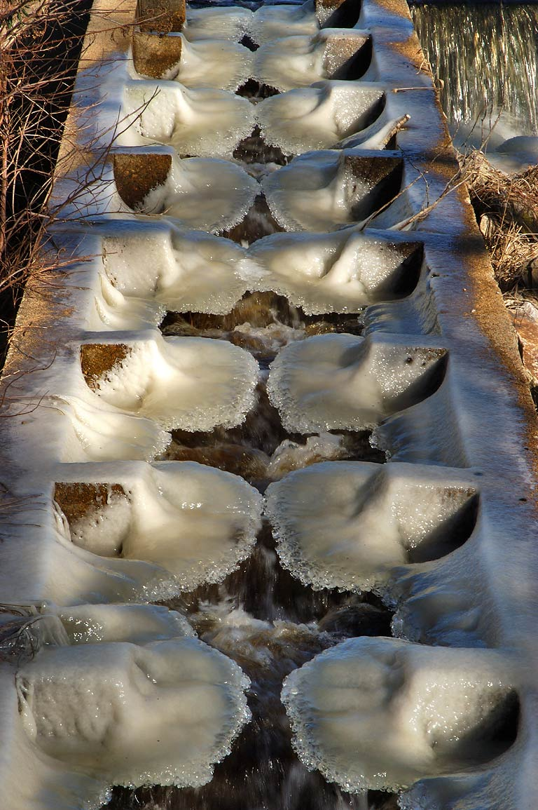 A frozen fish stairs of a dam in Russells Mills...O'Dundee Rd.. Dartmouth, Massachusetts