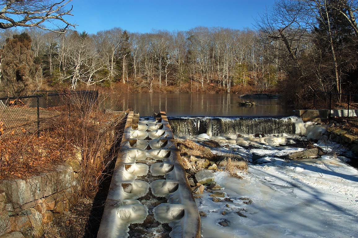 A dam and fish stairs in Russells Mills village...O'Dundee Rd.. Dartmouth, Massachusetts