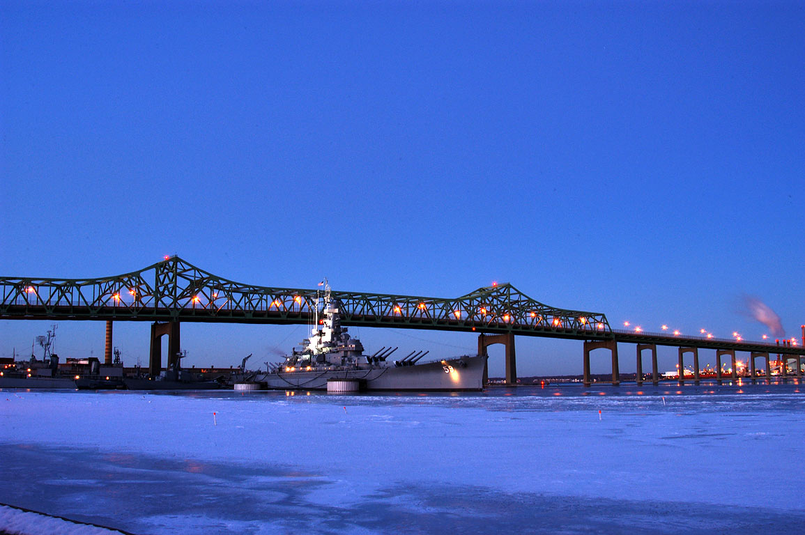 Taunton River, USS Massachusetts and Braga Bridge...at 6:39 a.m. Fall River, Massachusetts
