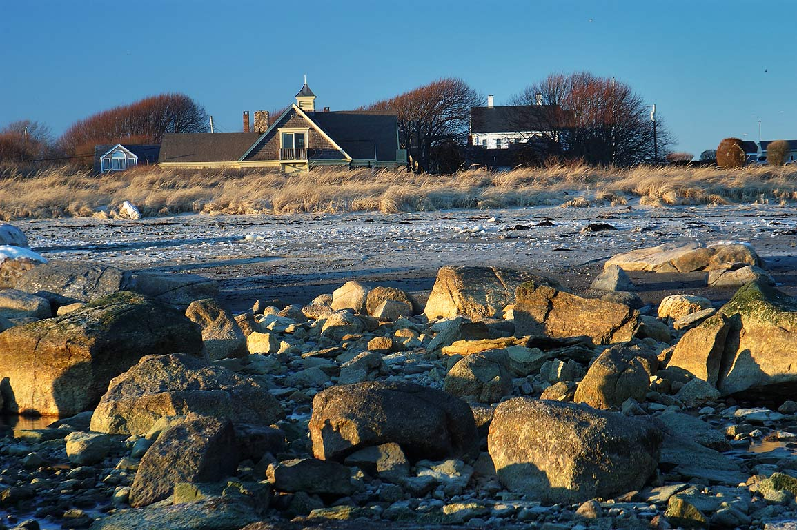 View from a beach at the end of River Rd.. Acoaxet, Massachusetts