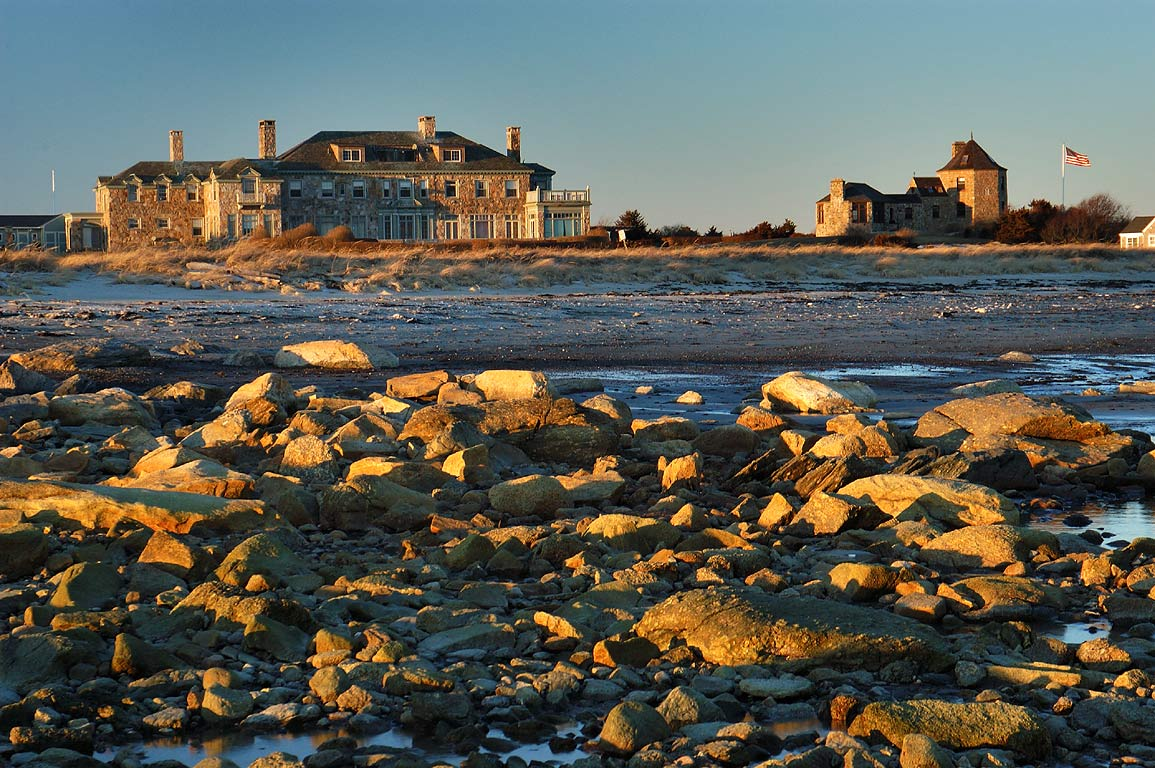 Houses near the Knubble, view from a beach at the end of River Rd.. Acoaxet, Massachusetts