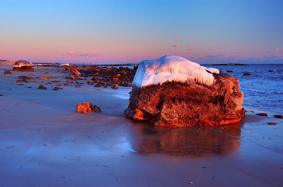 A beach at the end of River Rd. at sunset. Acoaxet, Massachusetts
