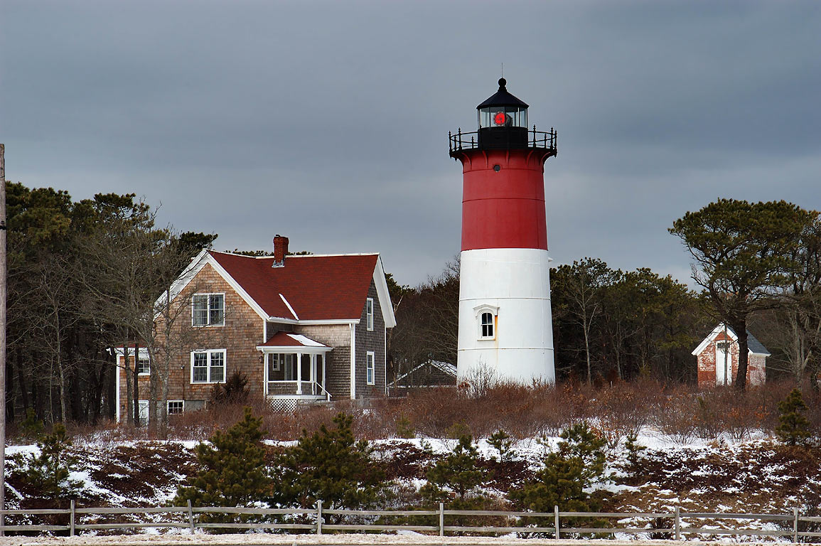 Nauset Lighthouse in Cape Cod. North Eastham, Massachusetts