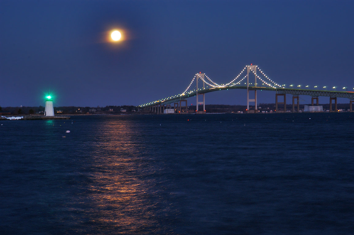 Moonset over Narragansett Bay from Goat Island...Bridge. Newport, Rhode Island 6:21 a.m