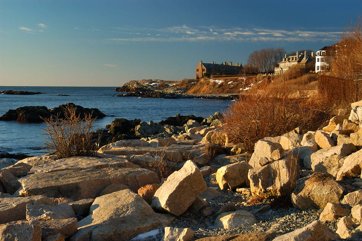 View in direction of Rough Point from Cliff Walk at Sheep Point. Newport, Rhode Island
