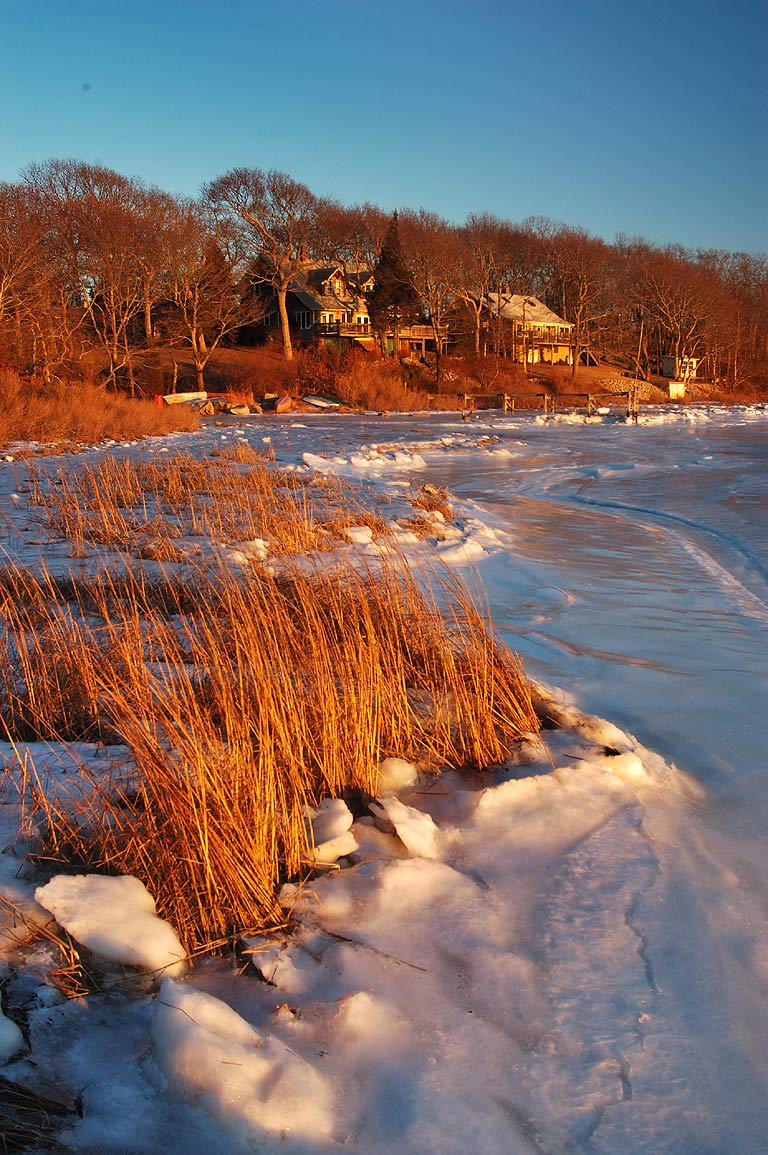 A village and frozen Slocum River at the end of Gaffney Rd.. Dartmouth, Massachusetts
