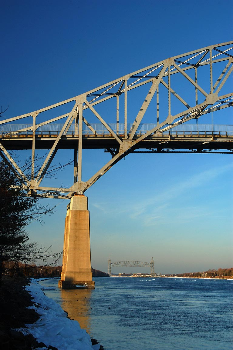 Bourne and Railroad bridges and Cape Cod Canal. Bourne, Massachusetts