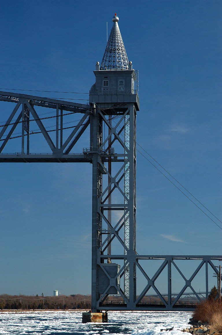 South pylon of Railroad Bridge, view from Canal...Rd. in Cape Cod. Bourne, Massachusetts