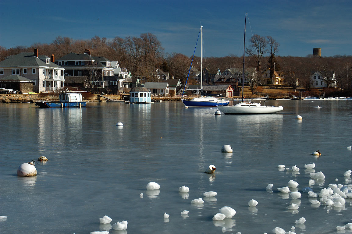 Eel Pond from Town Landing in Cape Cod. Woods Hole, Massachusetts