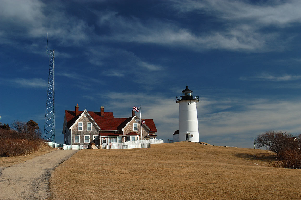 Nobska Point Lighthouse in Cape Cod. Woods Hole, Massachusetts