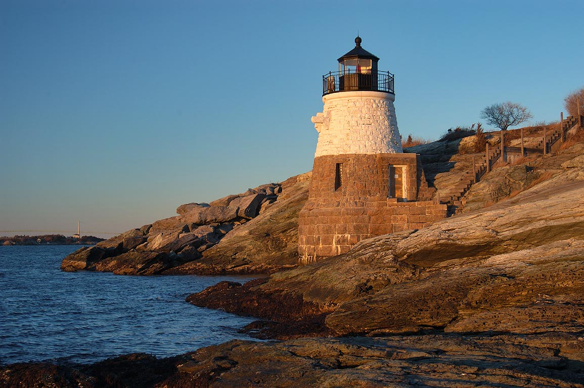 Castle Hill Lighthouse on Rams Head and Narragansett Bay. Newport, Rhode Island