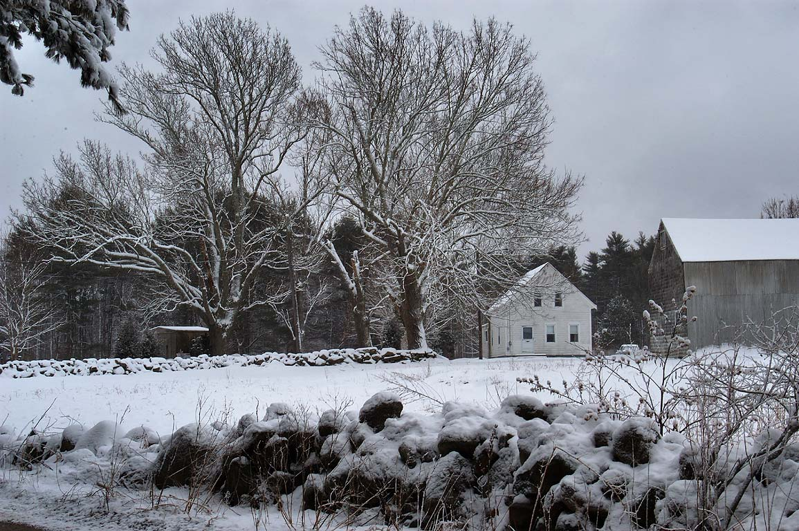 A farm at northern end of Lucy Little Rd. after snowfall. Dartmouth, Massachusetts