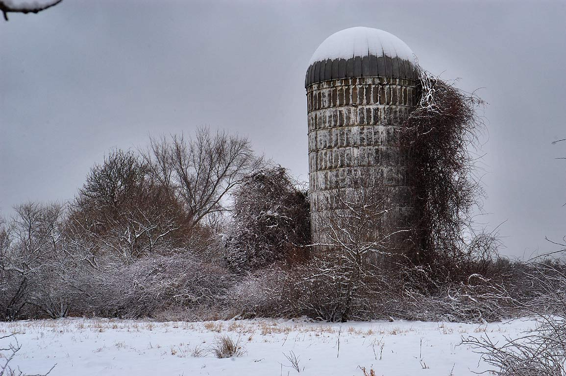 A silo near Chase Rd. after snowfall. Dartmouth, Massachusetts