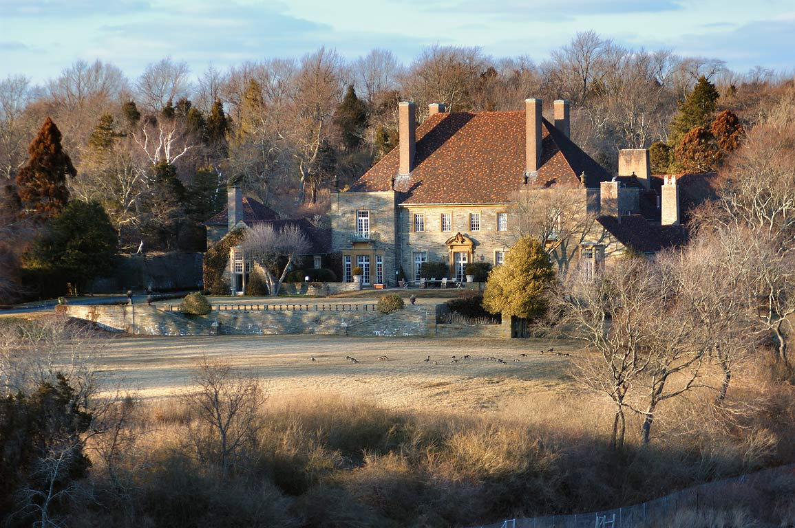 A mansion on Paradise Brook from Nelson Pond...Bird Sanctuary. Newport, Rhode Island