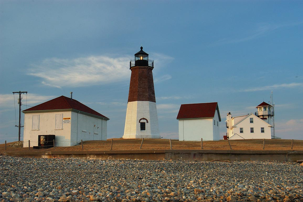 Point Judith Lighthouse, view from tidal flat. Narragansett, Rhode Island