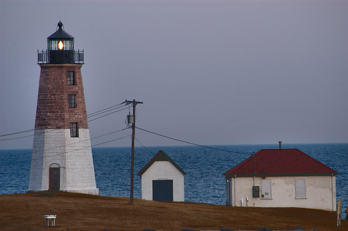 Point Judith Lighthouse (zoomed), view from WWII...north-west. Narragansett, Rhode Island