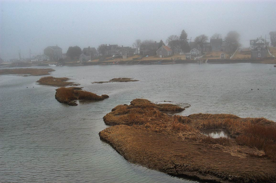 View of Westport Point from a bridge. Westport, Massachusetts