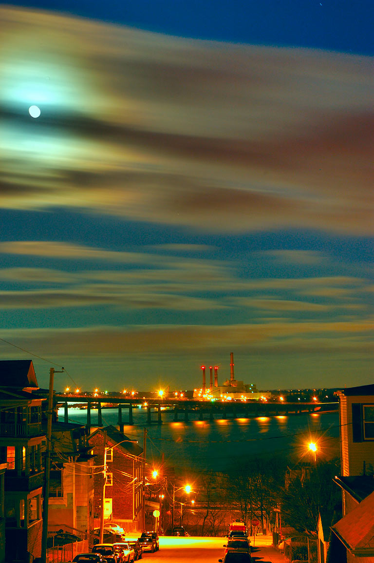 Full moon over Mount Hope Bay, view from an...District. Fall River, Massachusetts