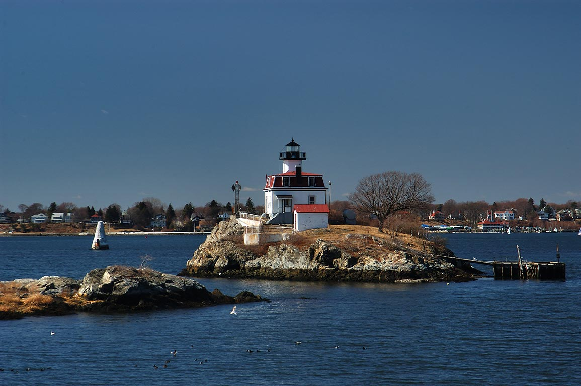 Pomham Light and Rocks in Providence River, view...Bike Path. Providence, Rhode Island