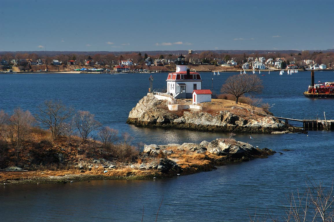 Pomham Light and Rocks in Providence River, view...complex. Providence, Rhode Island